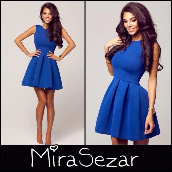 Платье синее короткое